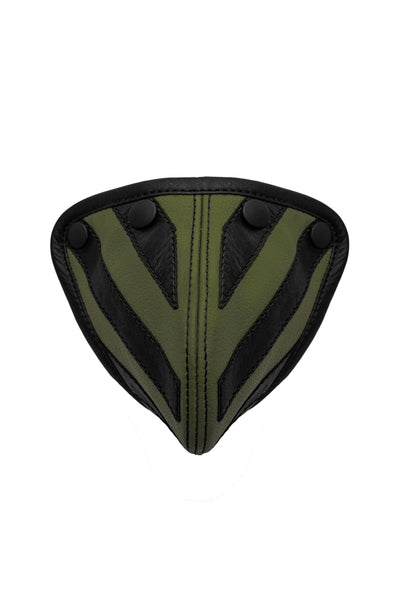 Army green leather tiger codpiece