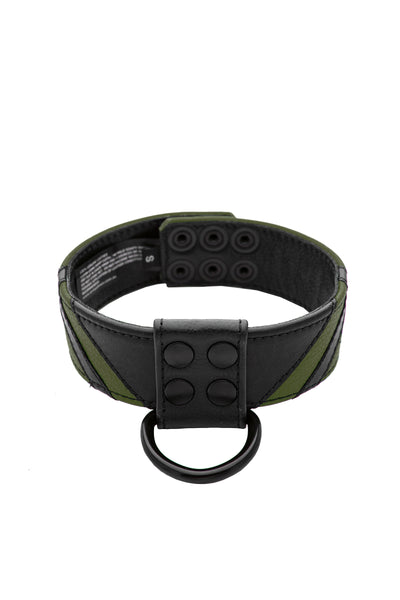 Army green leather chevron collar