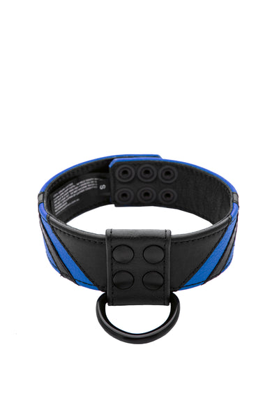 Blue leather chevron collar