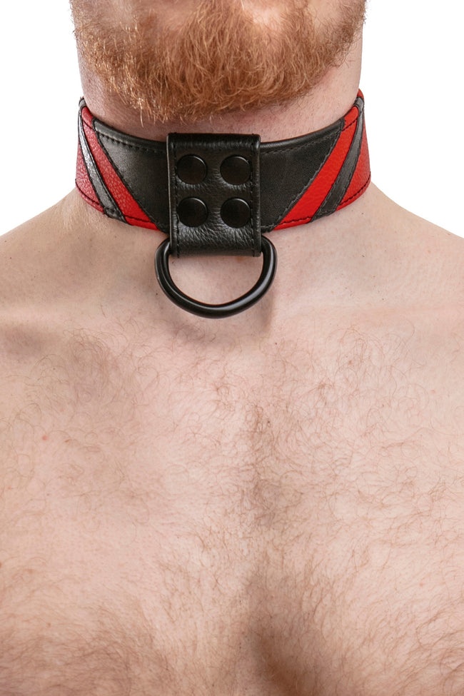 Model wearing red leather chevron collar