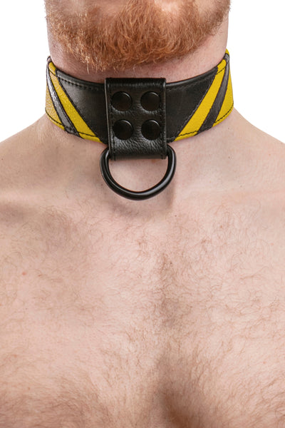 Model wearing yellow leather chevron collar