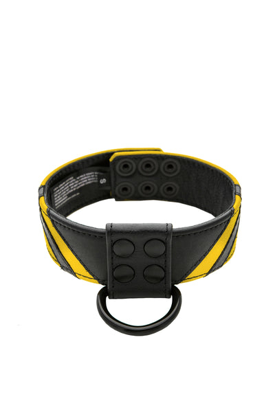 Yellow leather chevron collar