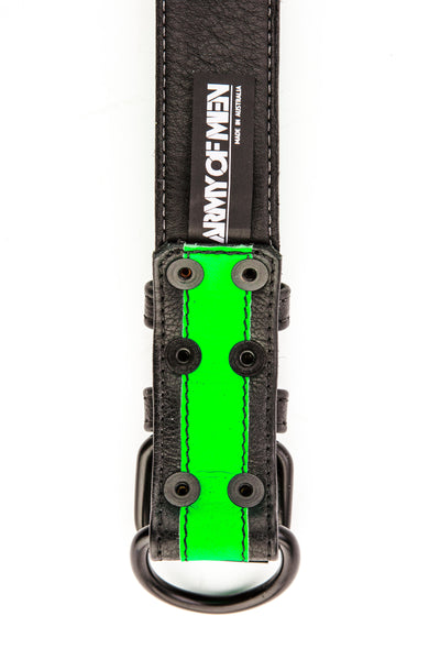 Fluro green stripe leather pup collar lining