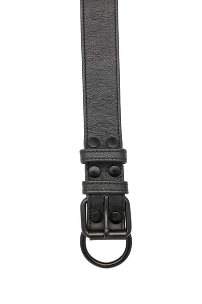 Black leather pup collar with matt black buckle and D-ring