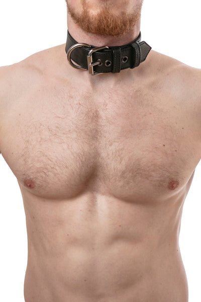 Model wearing black leather pup collar with stainless steel buckle and D-ring