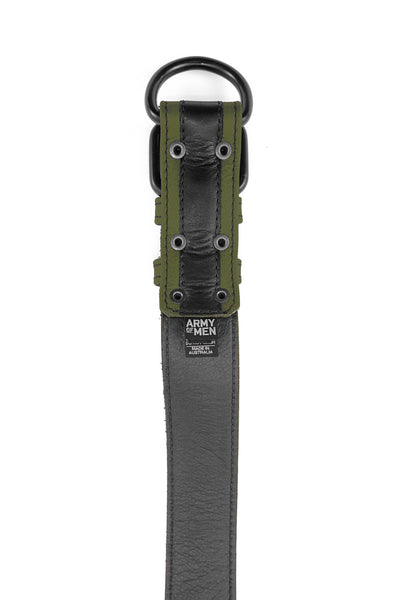 Army green leather racer stripe pup collar lining