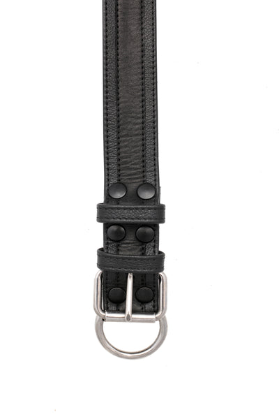 "1.5"" black racer stripe leather pup collar with stainless steel buckle and D-ring"