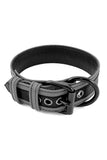 Grey leather racer stripe pup collar