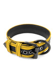 Yellow leather racer stripe pup collar