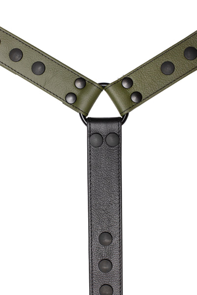 Army green leather bulldog harness connector with black hardware. Close up.