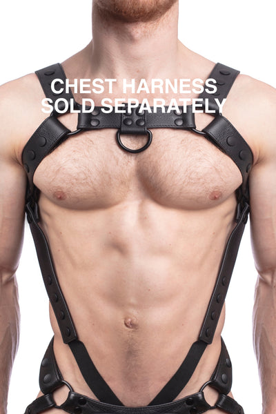 Chest harness sold separately. Model wearing a black leather bulldog harness and connector with black hardware.