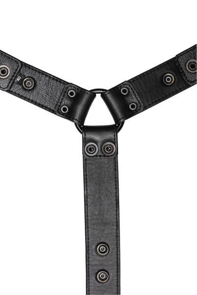 Black leather bulldog harness connector with black hardware. Lining.