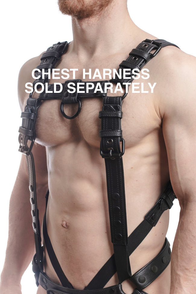 Chest harness sold separately. Model wearing a black leather combat harness and connector with black metal hardware.