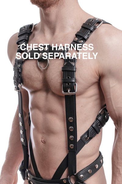 Chest harness sold separately. Model wearing a black leather combat harness and connector with stainless steel hardware.