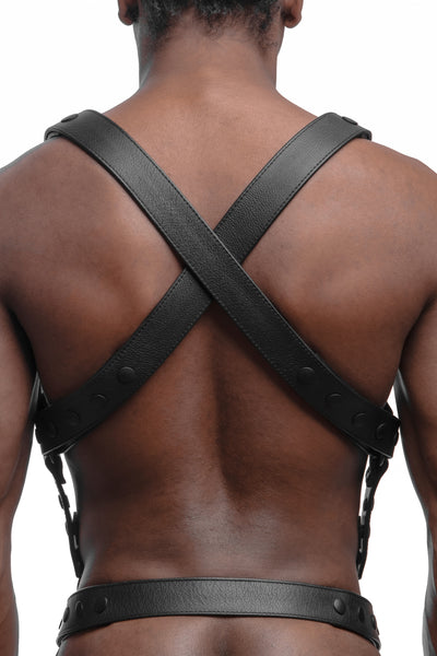 Model wearing matt black universal x harness back view