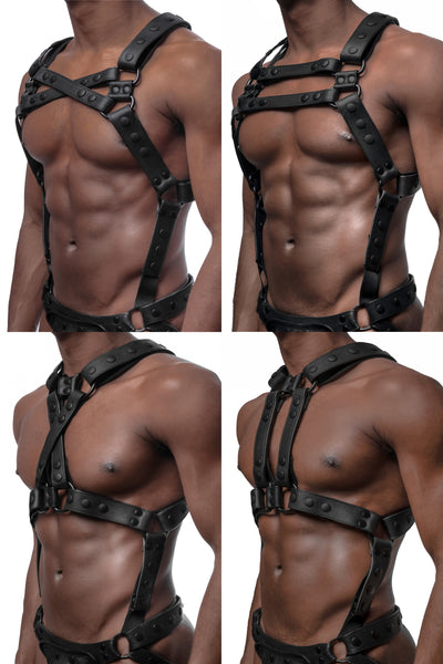 All 4 versions of model wearing matt black universal x harness