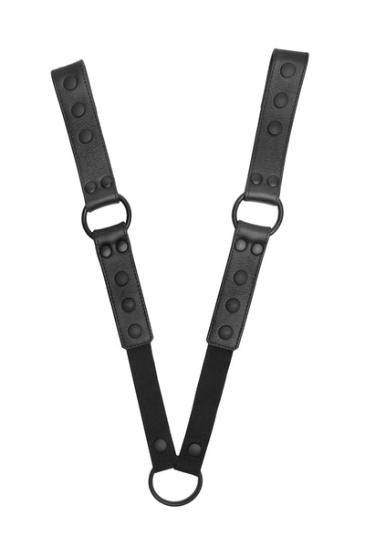 Pair of black leather universal x harness connectors with black hardware.