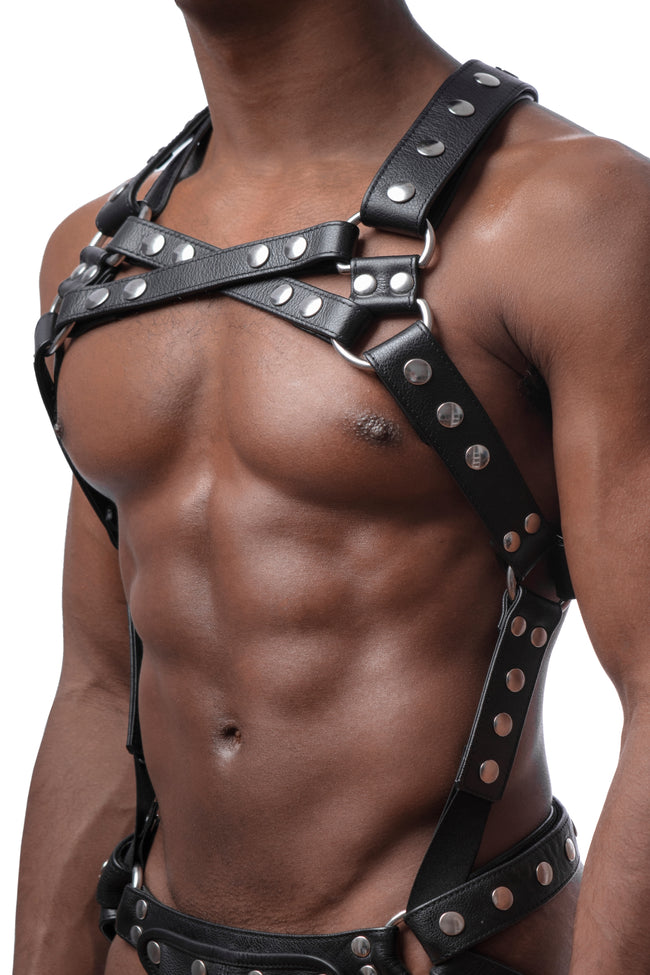 Model wearing stainless steel universal x harness version 1