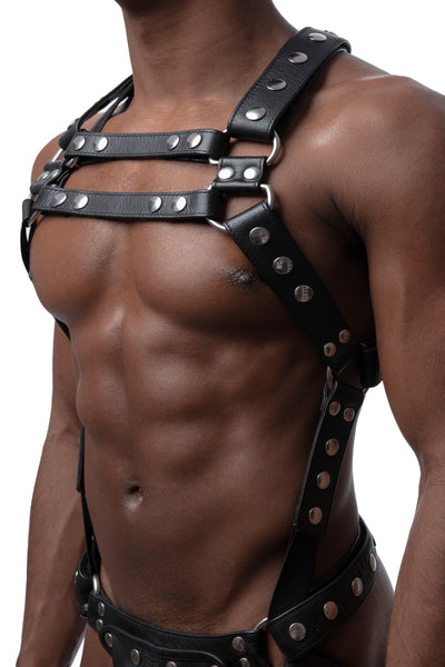 Model wearing stainless steel universal x harness version 2