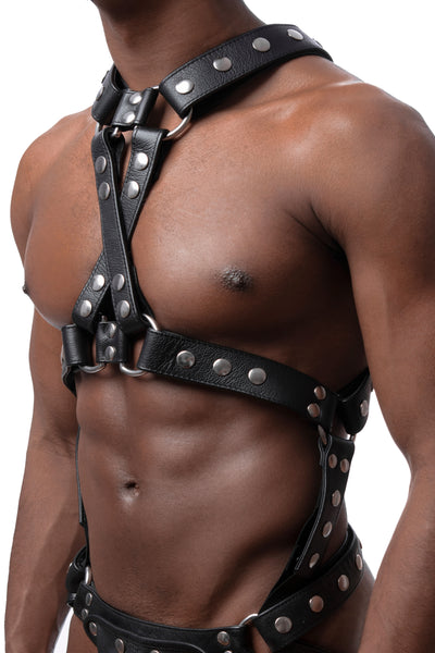Model wearing stainless steel universal x harness version 3