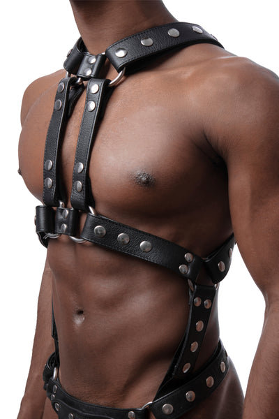 Model wearing stainless steel universal x harness version 4