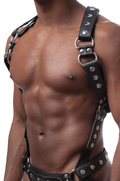 Model wearing stainless steel universal x harness version without front straps