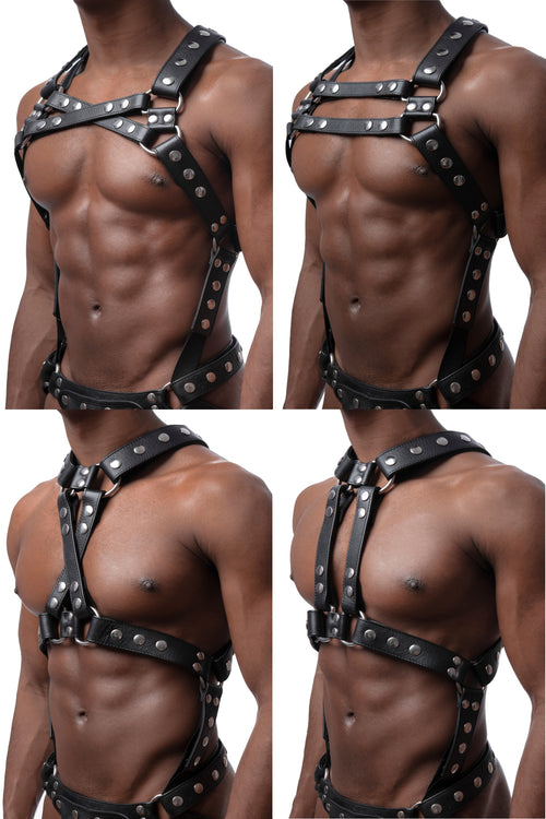 All 4 versions of model wearing stainless steel universal x harness