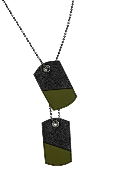 Army green leather dog tags