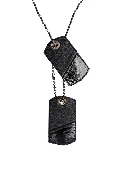 Black leather dog tags