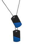 Blue leather dog tags