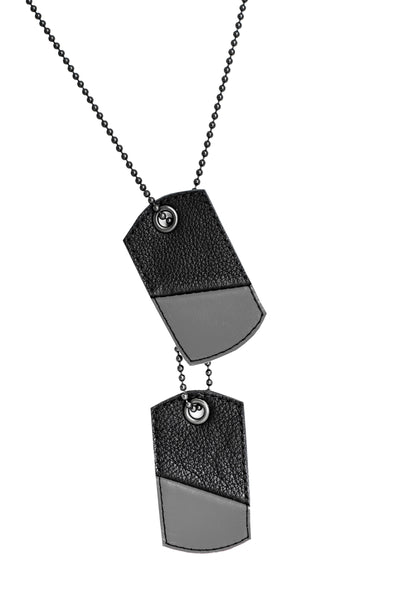 Grey leather dog tags