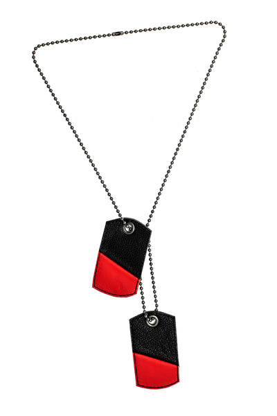 Red leather dog tags