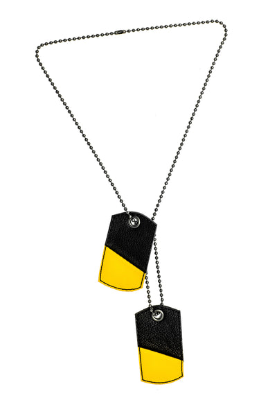 Yellow leather dog tags