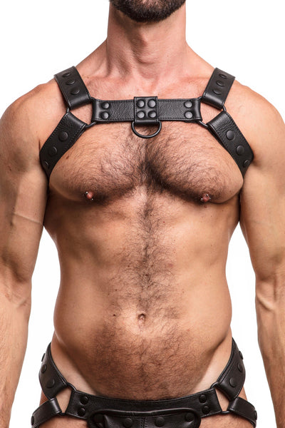 Model wearing black leather bulldog harness with black hardware. Front.