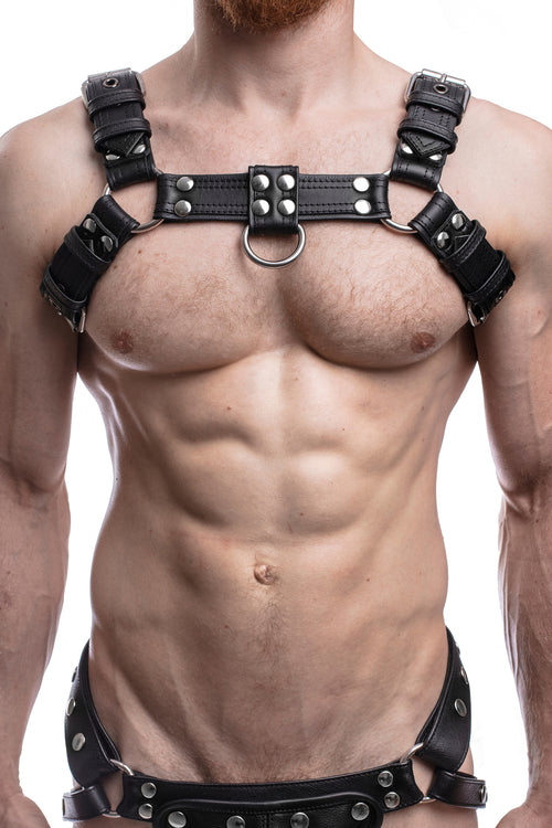 Model wearing black leather combat bulldog harness with stainless steel hardware