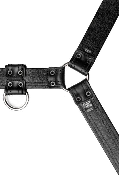 Black leather combat bulldog harness with stainless steel hardware. Lining.