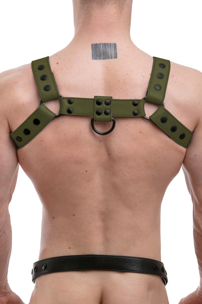Model wearing full army green leather bulldog harness. Back