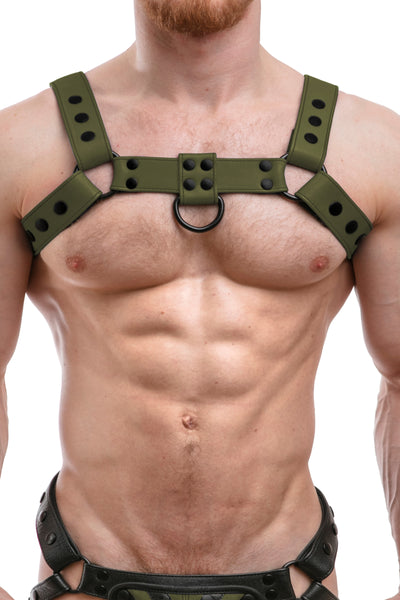 Model wearing full army green leather bulldog harness. Front