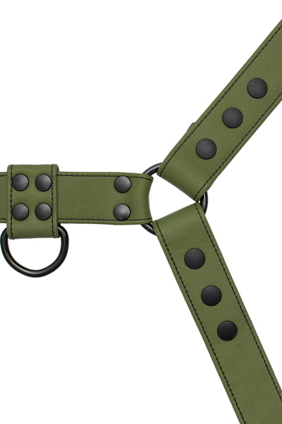 Full army green leather bulldog harness with black hardware.