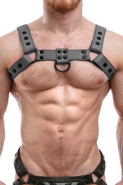 Model wearing full grey leather bulldog harness. Front