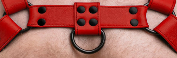 Model wearing full red leather bulldog harness. Front