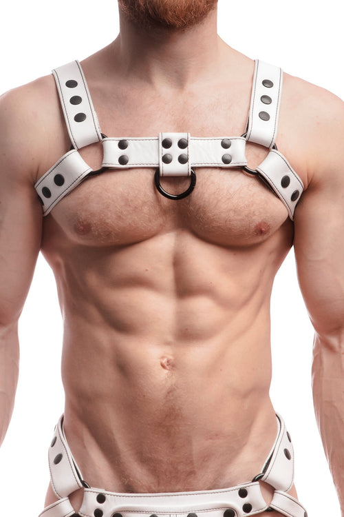 Model wearing a white leather bulldog harness with black hardware. Front.
