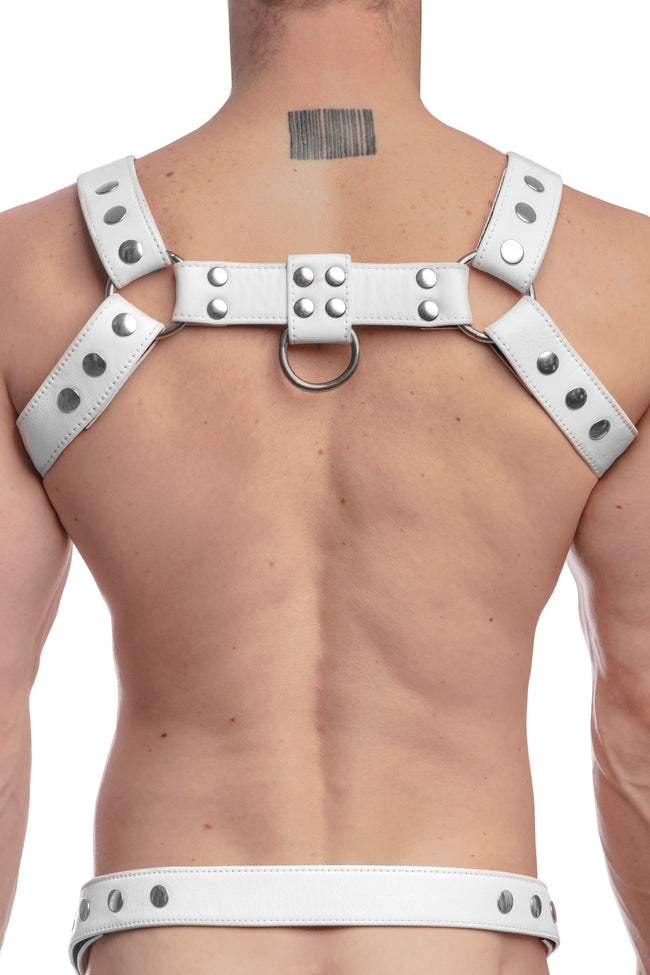 Model wearing a white leather bulldog harness with stainless steel hardware. Back view.
