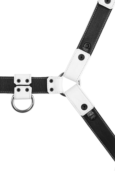 Product photo of a white leather bulldog harness with stainless steel hardware. Back view.