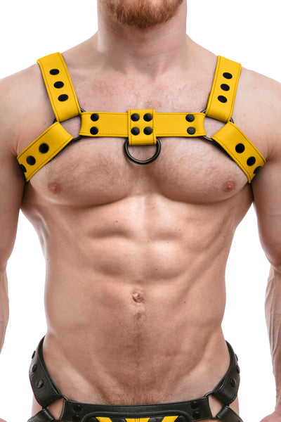 Model wearing full yellow leather bulldog harness. Front