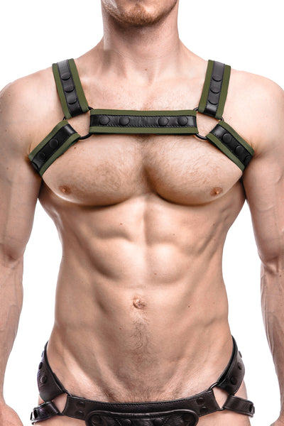 Model wearing an army green leather renegade bulldog harness