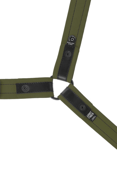 Lightweight army green leather bulldog harness. Lining.
