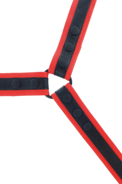 Lightweight red leather bulldog harness