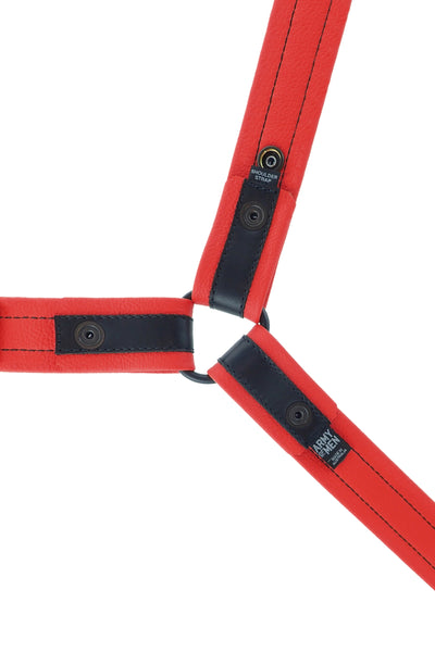 Lightweight red leather bulldog harness. Lining.