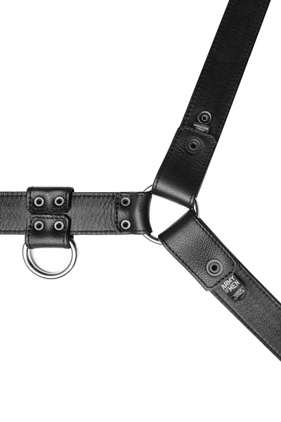 Black leather bulldog harness with stainless steel hardware. Lining.